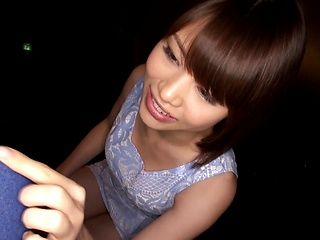 Mai Satuski strokes and blows in outdoor oral