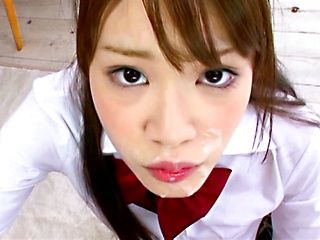 Young Rika Oosawa enjoys a huge dick in her mouth