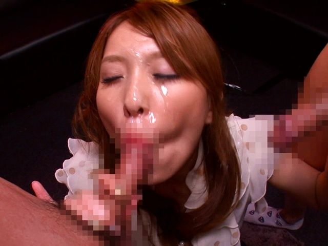 MILF Rin Sakuragi has two guys that she sucks off