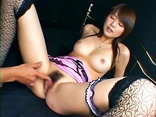 Erika Satoh Asian model in sexy lingerie fondles her pussy
