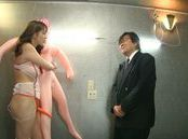 Maki Koizumi hot Japanese milf makes use of a strap on and a fat guy