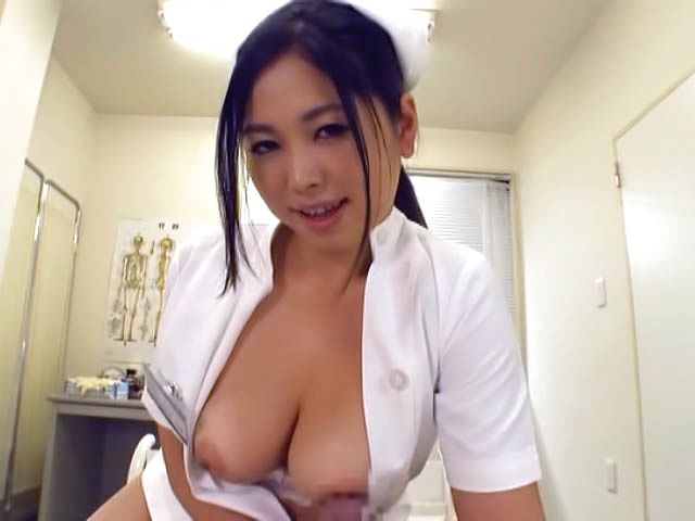 Adorable Japanese nurse Aira Masaki teases cock in handjob