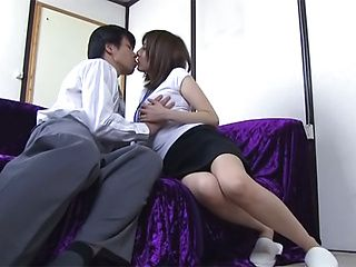 Lovely Japanese AV Model flirts with her horny colleague