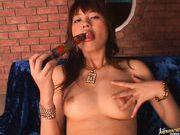Erika Satoh Japanese doll fondles her juicy pussy