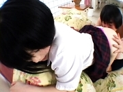 Yuri Hiyoshi Pretty Asian schoolgirl gives a blowjob