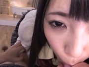 Skillful Asian schoolgirl Ai Uehara sucks dick and rides it on pov video