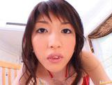 Erika Satoh Japanese doll rides a big dildo picture 1