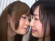 Horny Asian lesbians enjoying a warm trio together
