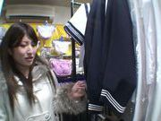 Exquisite Saki Kobashi engulfs cock in a clothing store