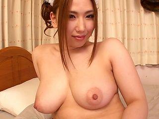 Chubby stunner Ai Sayama sucks cock and enjoys titfuck