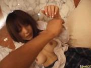 Saki Tsuji Hot Japanese schoolgirl rides on a cock
