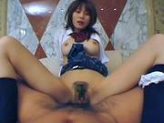 Saki Tsuji Hot Japanese schoolgirl rides on a cockasian babe, asian women}