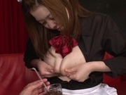 Busty Asian maid with milking tits Uehara Hinano likes titfuckjapanese sex, japanese pussy}