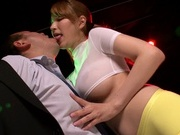 Young Japanese kissing and stroking a big cock on camasian women, horny asian}