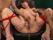 Bondage group action with sexpot Maki Koizumi