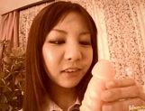Hikari Aota Asian doll likes rif=ding on huge dildos