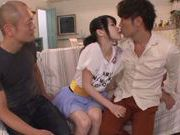 Alluring Japanese teen Miyu Saki in hardcore group action