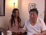 Mouthwatering milf Rina Fujimoto sucks her father-in-law picture 11