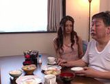Mouthwatering milf Rina Fujimoto sucks her father-in-law