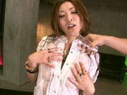 Two Guys Oil Up And Fuck MILF Emi Harukaze In A Threesome