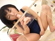 Hanabi Nanami hot Asian teen plays with big dildo
