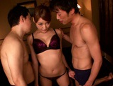 Asuka Kirara having her pussy slammed by two guys picture 5