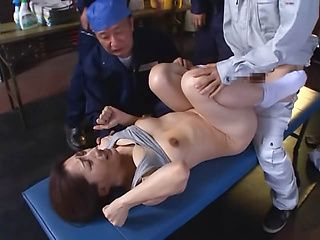 Rough threesome anal with steamy Marina Matsumoto