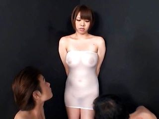 Big titted Meru oiled up and fucked in a see through dress