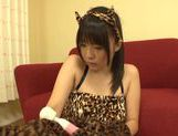 Teen kitty Tsubomi in black stockings vibrates her pussy