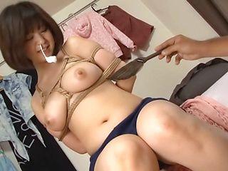 Perverted guy arranges hardcore bondage sex Japanese AV model