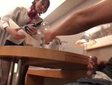Pretty Japanese stewardess gets smacked in a rough way picture 11