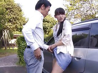 During upskirt scene Japanese AV model shows nice ass