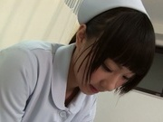 Sweet teen Japanese nurse with shaved pussy rides her patient's cock