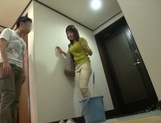 Busty Japanese housewife gives head and enjoys titfuck