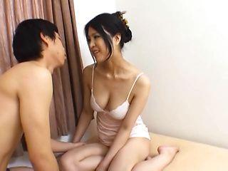 Horny Japanese AV model dick riding after sex in position 69