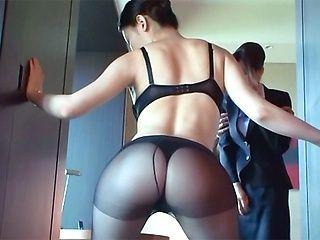 Sex appeal stewardess enjoys hardcore pussy rubbing