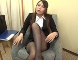 Sweet office lady Saki Hatsuki gives a foot job and rides cock picture 11