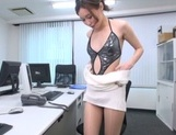 Naughty Japanese office lady strips and drills her horny wet pussy picture 10