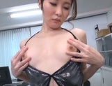 Naughty Japanese office lady strips and drills her horny wet pussy picture 12