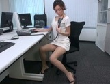 Naughty Japanese office lady strips and drills her horny wet pussy