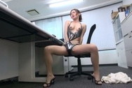 Naughty Japanese office lady strips and drills her horny wet pussyjapanese tits, huge boobs