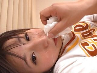 Spicy Japanese cheerleader Yuuki Itano makes double blowjob
