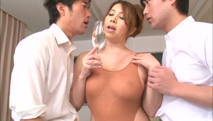 Curvy Japanese teacher Yumi Kazama gets oiled enjoys hardcore nailing