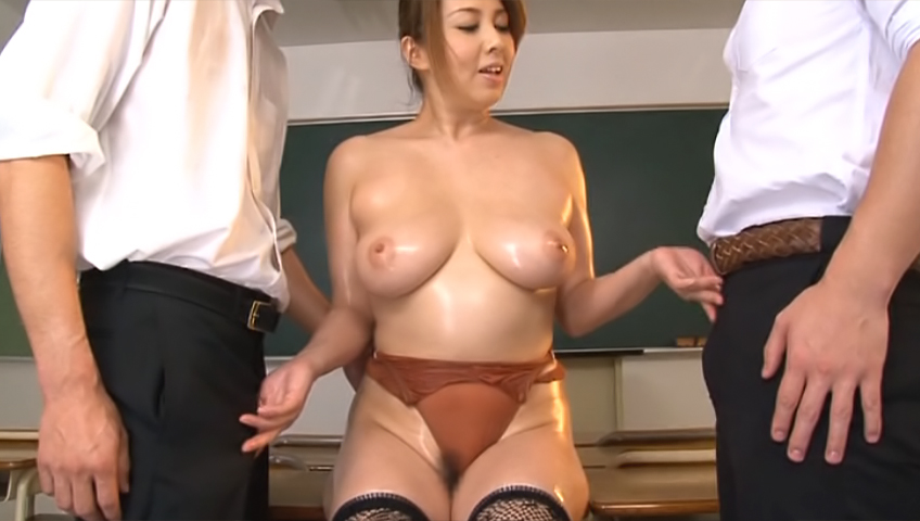 Curvy Japanese teacher Yumi Kazama gets oiled enjoys hardcore nailing