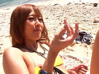 Hibiki Ohtsuki and Ayumu Sena enjoy hot sex on the seashore
