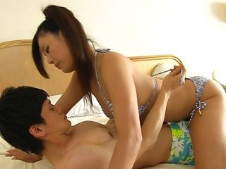 Sexy Japanese chick Katase Hitomi gets rear fuck enjoys facial cum
