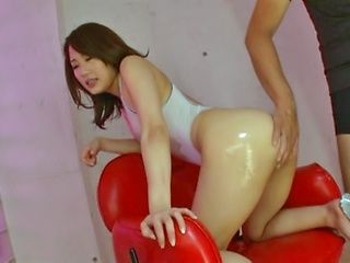 Pretty AV girl Misa Kudou gets oiled and fondled