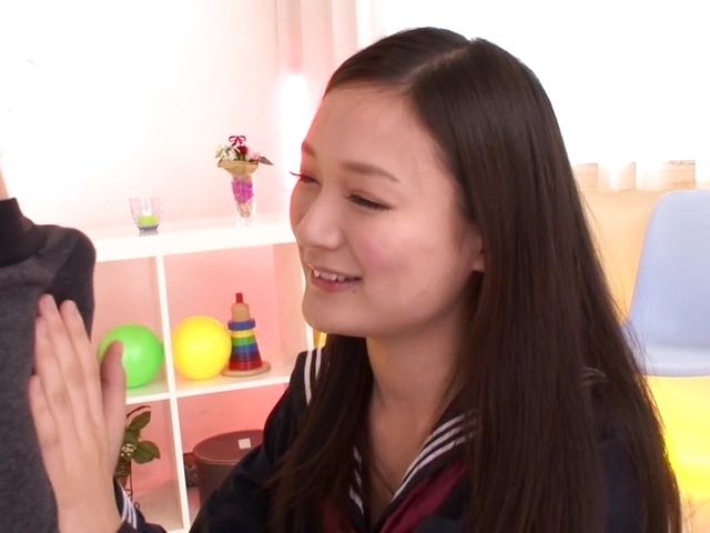 Shameless Asian schoolgirl Fuuga Kagawa is a cock tease