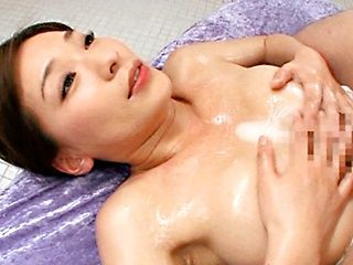 Lustful milf Kaho Kasumi enjoys hot cumshot on tits