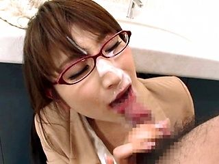 Sexy teacher Yui gives sensual blowjob and gets cum on her face